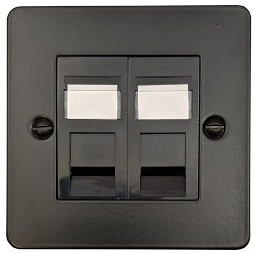 G&H FFB64B Flat Plate Matt Black 2 Gang Slave BT Telephone Socket